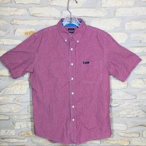 M Men's Chaps Red Checkered Button Down Shirt